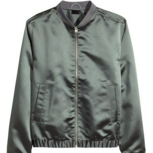 H&M Army Green Satin Bomber Jacket